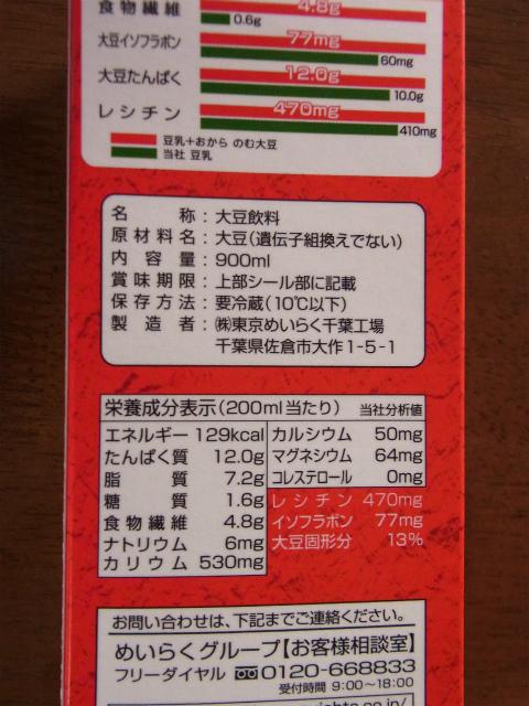 のむ大豆の成分表記